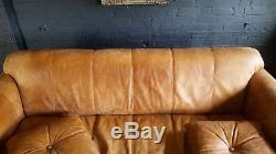 1012. Chesterfield Leather vintage & distressed 3/4 Seater Sofa Light tan Courier