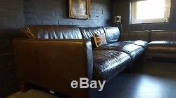 117 Chesterfield vintage 3 seater Leather brown Corner Suite courier av