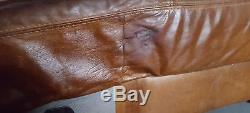 132 Chesterfield vintage 4 seater leather tan Club brown Corner suite courier av