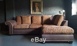 136 Chesterfield vintage 3 seater Leather brown Corner Suite courier av