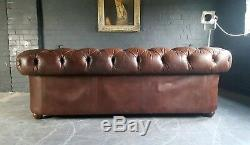 14. Chesterfield Leather vintage & distressed 2 Seater Sofa brown Courier Av