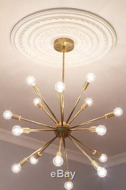 16 Arms Mid Century Modern Patina Brass Sputnik chandelier Sputnik light Fixture