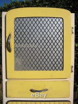 1940s 1950s VINTAGE RETRO KITCHEN CABINET PANTRY LARDER 3 PIECE SET LEMON YELLOW