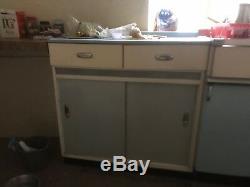 1950s Kitchen Units Free Standing Vintage Retro Light Blue Cream