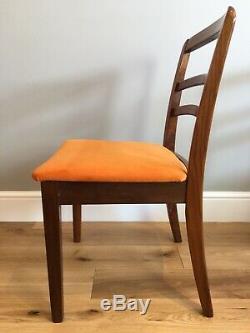 1960s Mid Century G Plan Drop Leg Table & 4 E Gomme Orange Velvet Dining Chairs