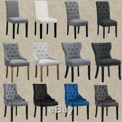 1/2/4/6 Dining Chairs Armchair High Back Linen/Velvet Upholstered Wood Legs Home