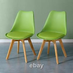 1/2/4 Wooded Dining Chairs Solid Wood PU Padded Seat PP Plastic Dining Room