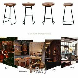 1/2/4x Vintage Industrial Bar Stools High Chair Kitchen Counter Wooden Seat NEW