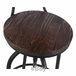 1/2/4x Vintage Industrial Bar Stools High Kitchen Counter Wooden Seat & Back NEW