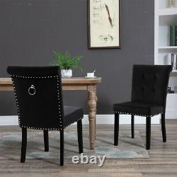 1/2 Pcs Velvet Dining Chair with Knocker/Ring Back Dining Room Kitchen Chairs