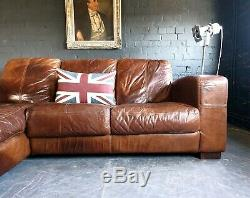 2003. Chesterfield Leather vintage & distressed 3 Seater Corner Sofa tan Brown