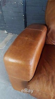 2046. Chesterfield Vintage tan 3 Seater Leather Club Corner suite courier av