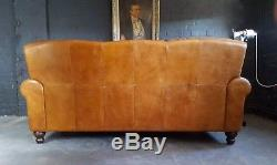 2115. Chesterfield Leather vintage & distressed 3 Seater Sofa brown Tan Courier