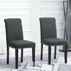 2Pcs Dining Chairs High Back Dining Room Fabric Upholstered Rivets Dark Grey New