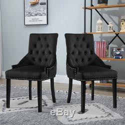 2Pcs Knocker Dining Chairs Accent Button Tufted Upholstered Studded Velvet Chair