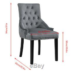 2Pcs Velvet Knocker Dining Chairs Accent Button Tufted Upholstered Studded Chair