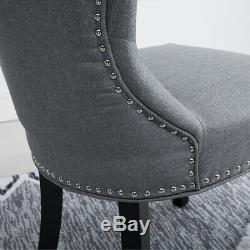 2Pcs Wing Back Dining Chairs Fabric Upholstered Accent Dining Room Kitchen Gray