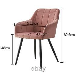 2X Armchair Dining Chairs Velvet Padded Seat Dining Room Kitchen Restaurant