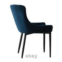 2X Retro Blue Velvet Dining Chairs Padded Seat Office Chairs Restaurant Metal