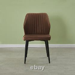 2X Retro Brown Faux Leather PU Dining Chairs Kitchen Dining Room Metal Legs