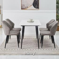 2X Retro Dining Chairs Faux Leather PU Kitchen Dining Room Metal Legs Grey Brown