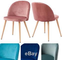 2/4PCS Velvet Dining Chairs Metal Legs Sofa Chairs Kitchen Lounge Club Furniture