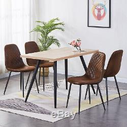 2/4/6 Brown Dining Chairs Suede Padded Seat Metal Legs Kitchen Lounge Furniture