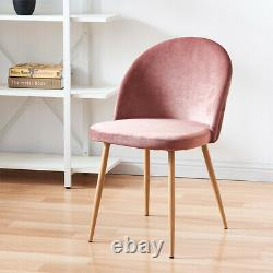 2/4/6 Pink Velvet Dining Chairs with Backrest Metal Leg Dining Room Lounge Chair