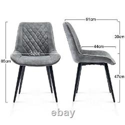 2 4 6 Retro Dining Chairs Distressed Faux Suede Fabric Black Legs Kitchen Room