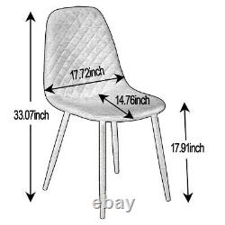 2/4/6 Suede Dining Chairs Metal Legs Office Chair Kitchen Lounge Restaurant Home