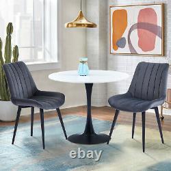 2 4 6 Velvet Fabric Dining Chairs Black Metal Legs Kitchen Living Dressing Room