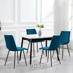 2/4 Dining Chairs Set Velvet Padded Metal Legs Kitchen Chair Seating Home Office
