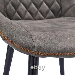 2/4 Retro Dining Chairs Faux Suede Fabric Diamond Back Slope Chair Living Room