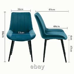 2/4 Velvet Dining Chairs Black Metal Legs Accent Dressing Chair Kitchen Bedroom