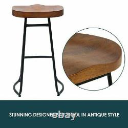 2/4x Vintage Industrial Bar Stools High Chair Kitchen Counter Wooden Seat KR