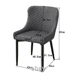 2 × Dining Chairs Velvet Faux Leather Chairs Brown / Grey Dining Room Restaurant