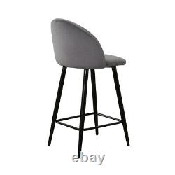 2 Grey Velvet Bar Stools Breakfast Stool Kitchen Pub Chairs 65/75 cm Seat High