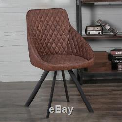2× Luxury Dining Chairs Faux Leather / Velvet Soft Seat Retro Armchairs Kitchen