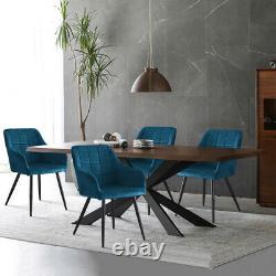 2 Pcs Blue Velvet Armchairs Dining Chairs Office Chair Kitchen Restaurant Retro