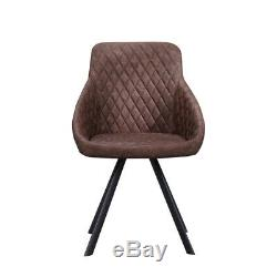 2 Pcs Faux Leather Dining Chairs Armchairs Office Kitchen Brown Grey Industrial