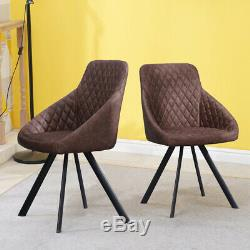 2 Pcs Retro Brown Faux Leather Dining Chairs Office Chairs Dining Room Pub Set