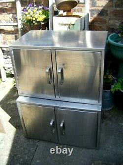 2 x Vintage Industrial'McDonalds' Stainless Steel Kitchen Wall Cabinet Units