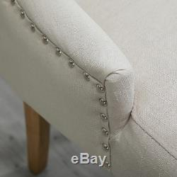 2x Accent Dining Chairs Fabric Upholstered Button Tufted Lounge Room Home Beige