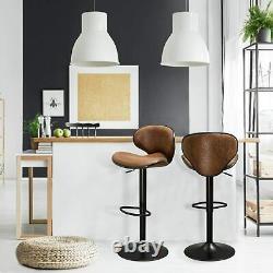 2x Bar Stools Gas Lift Stools Bronzing Suede Kitchen Club Cafe Pub Swivel Chairs