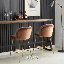 2x Bar stools Velvet Breakfast Chairs High Counter Home Pub Restaurant Stools