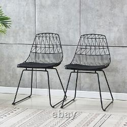 2x Black Metal Wire Mesh Dining Chairs Industrial Retro Dining Room Kitchen Bar