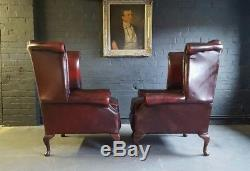 314 Superb Pair of Chesterfield High back Vintage Club leather Armchairs Courie