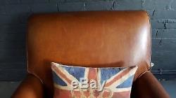 315 Laura Ashley Chesterfield Brown Vintage Club leather armchair Courier av