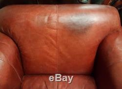 316 Superb Pair of Chesterfield Vintage Club leather Armchairs Cour