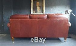 318 Chesterfield Leather vintage Derwent 3 Seater Sofa courier av